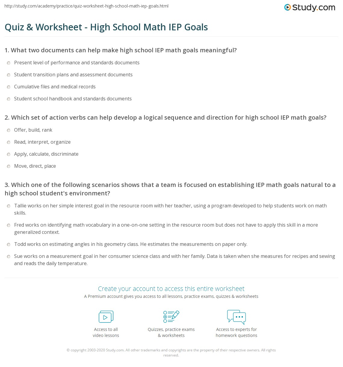 Worksheets Following Directions Worksheets For Middle School quiz worksheet high school math iep goals study com print for worksheet