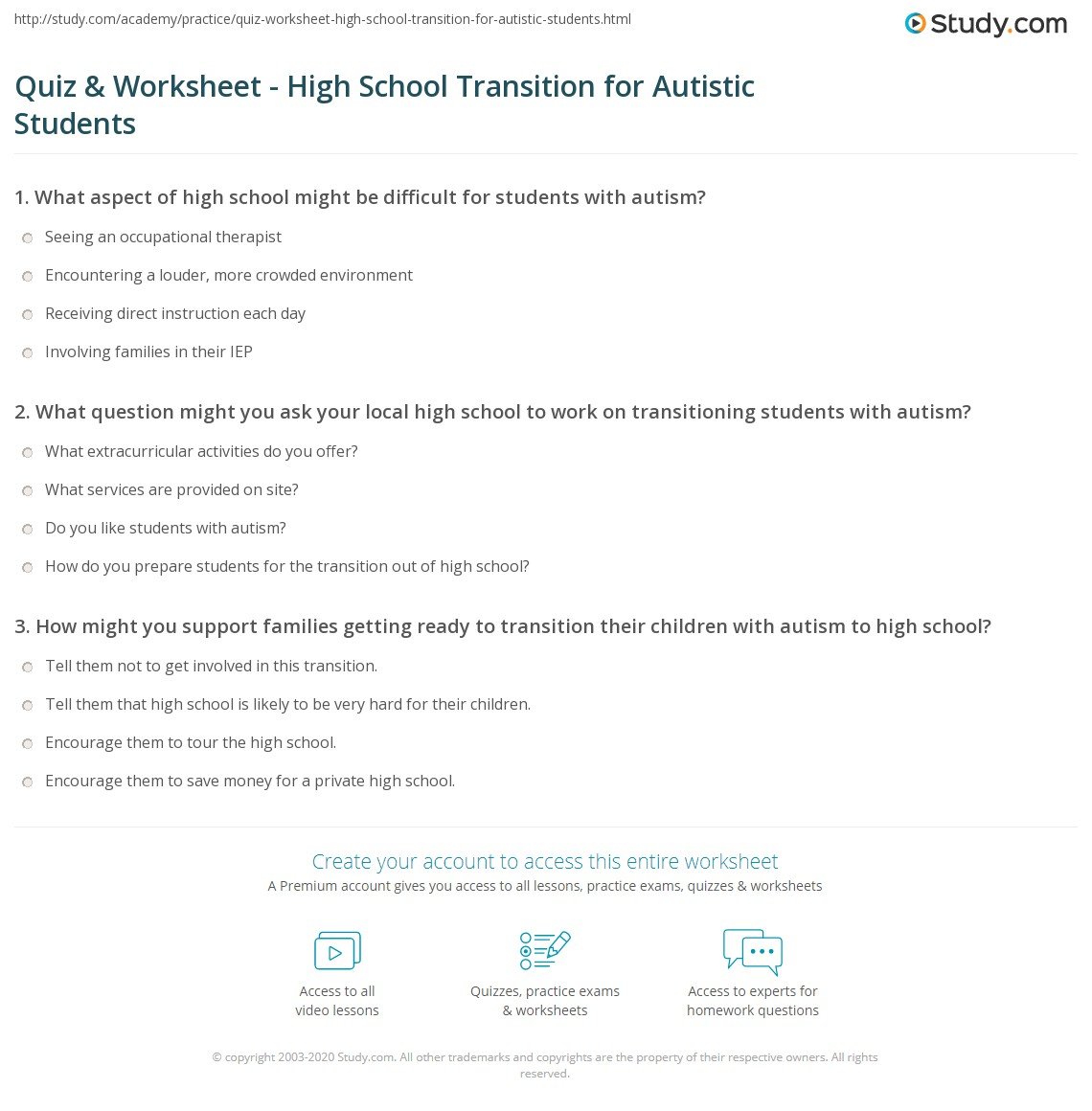 Quiz & Worksheet - High School Transition for Autistic