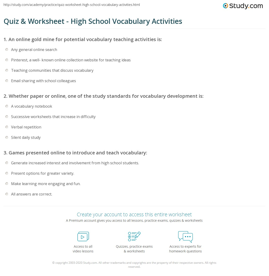 worksheet High School Vocabulary Worksheets quiz worksheet high school vocabulary activities study com print for worksheet