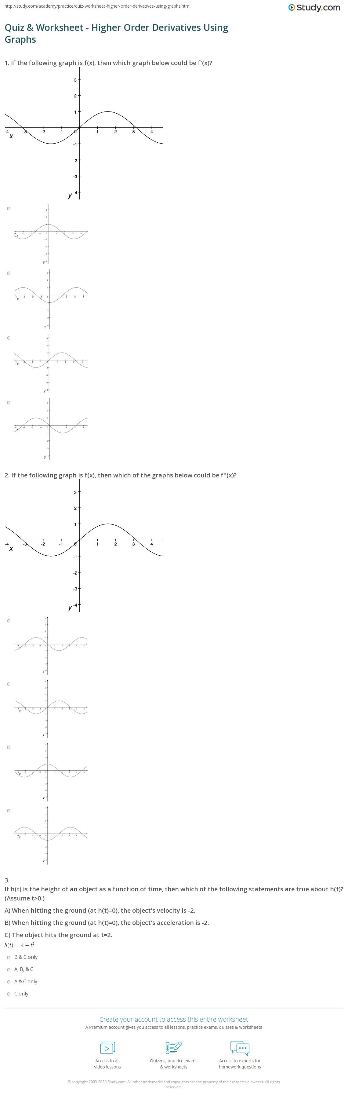 quiz worksheet higher order derivatives using graphs. Black Bedroom Furniture Sets. Home Design Ideas