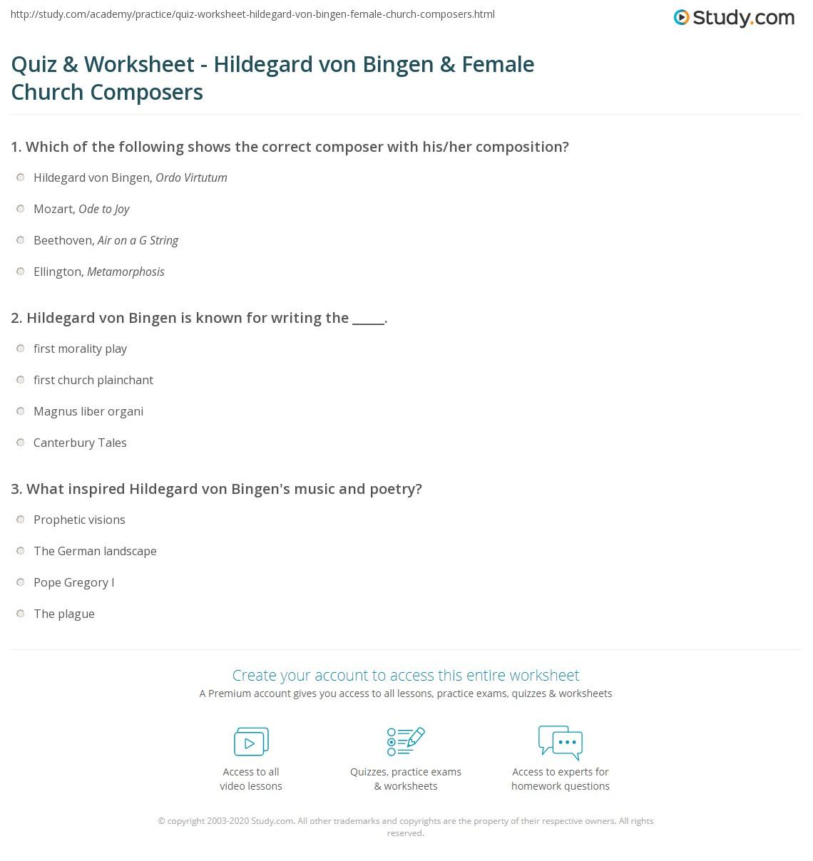 Quiz Worksheet Hildegard Von Bingen Female Church Composers on North America Worksheets First Grade