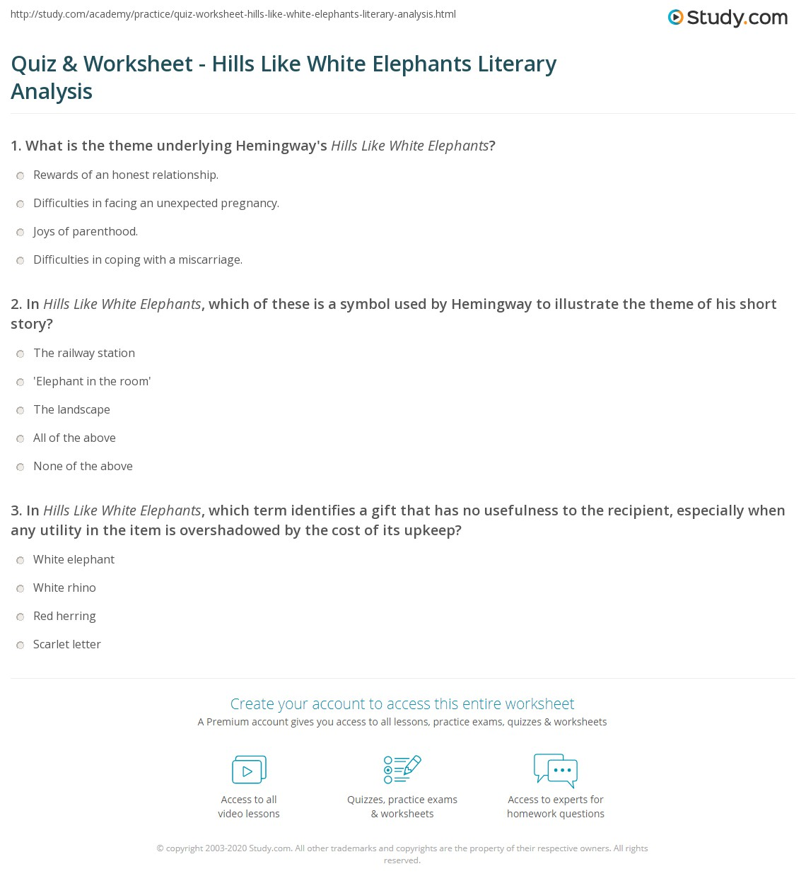 quiz worksheet hills like white elephants literary analysis  print hills like white elephants theme symbolism literary analysis worksheet