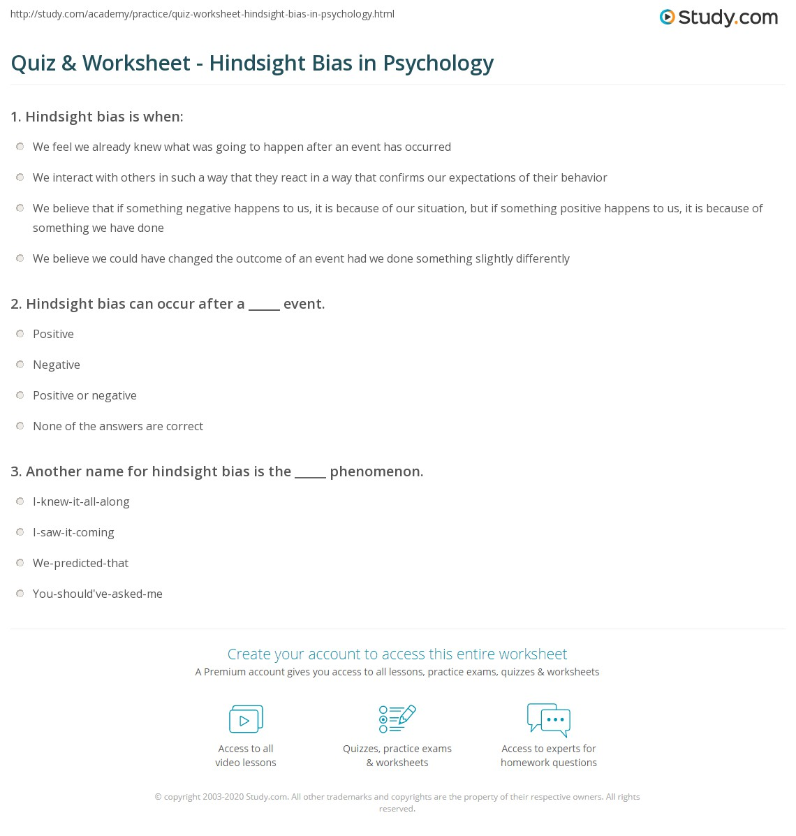 Quiz Worksheet Hindsight Bias In Psychology Study