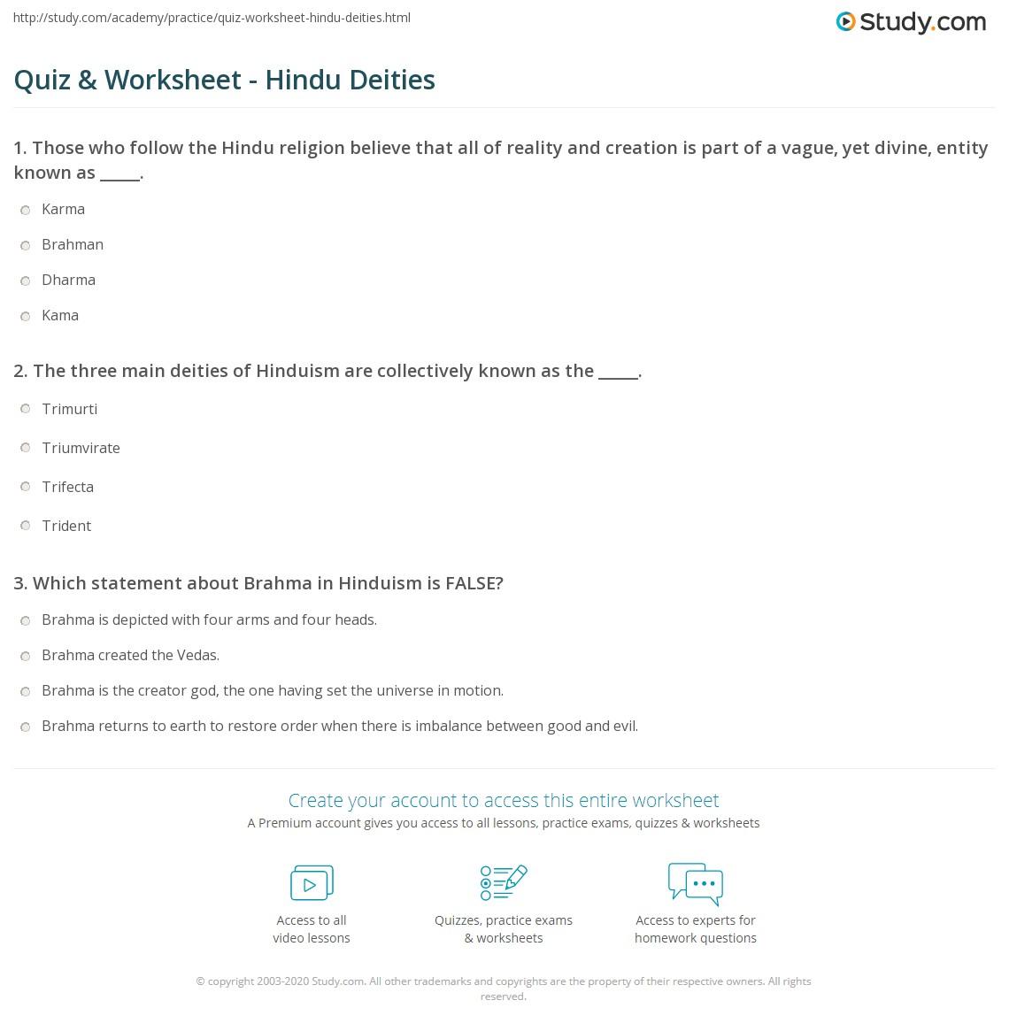 Quiz Worksheet Hindu Deities – Hinduism Worksheet