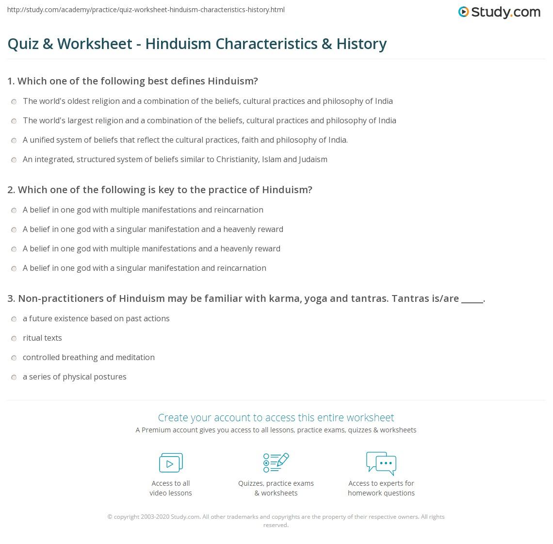 quiz & worksheet - hinduism characteristics & history | study