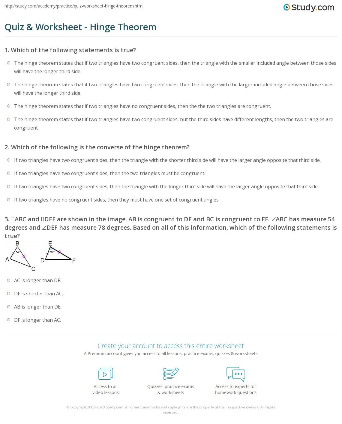 worksheet Hinge Theorem Worksheet quiz worksheet hinge theorem study com print comparing triangles with the worksheet