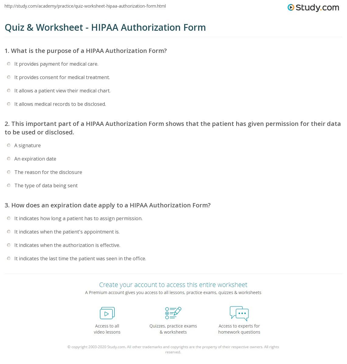 Quiz & Worksheet - HIPAA Authorization Form | Study.com