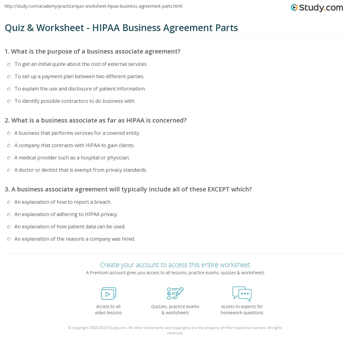 Quiz worksheet hipaa business agreement parts study print hipaa business associate agreement components example worksheet platinumwayz