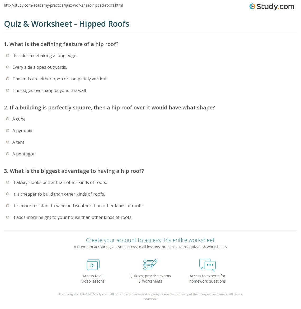 Quiz Worksheet Hipped Roofs Study Com