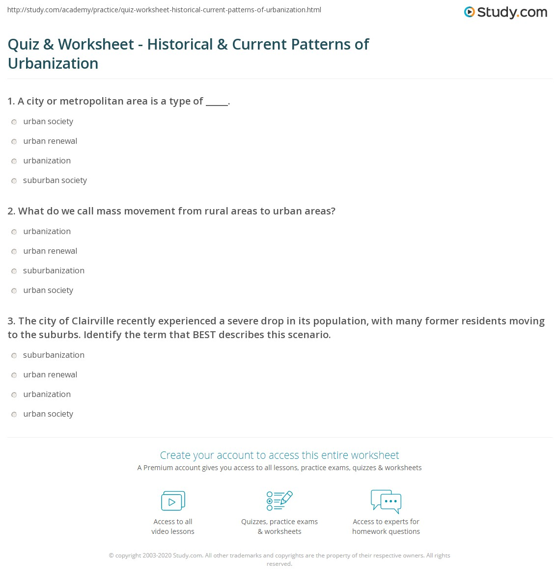 worksheet Mass Movement Worksheet quiz worksheet historical current patterns of urbanization what do we call mass movement from rural areas to urban areas