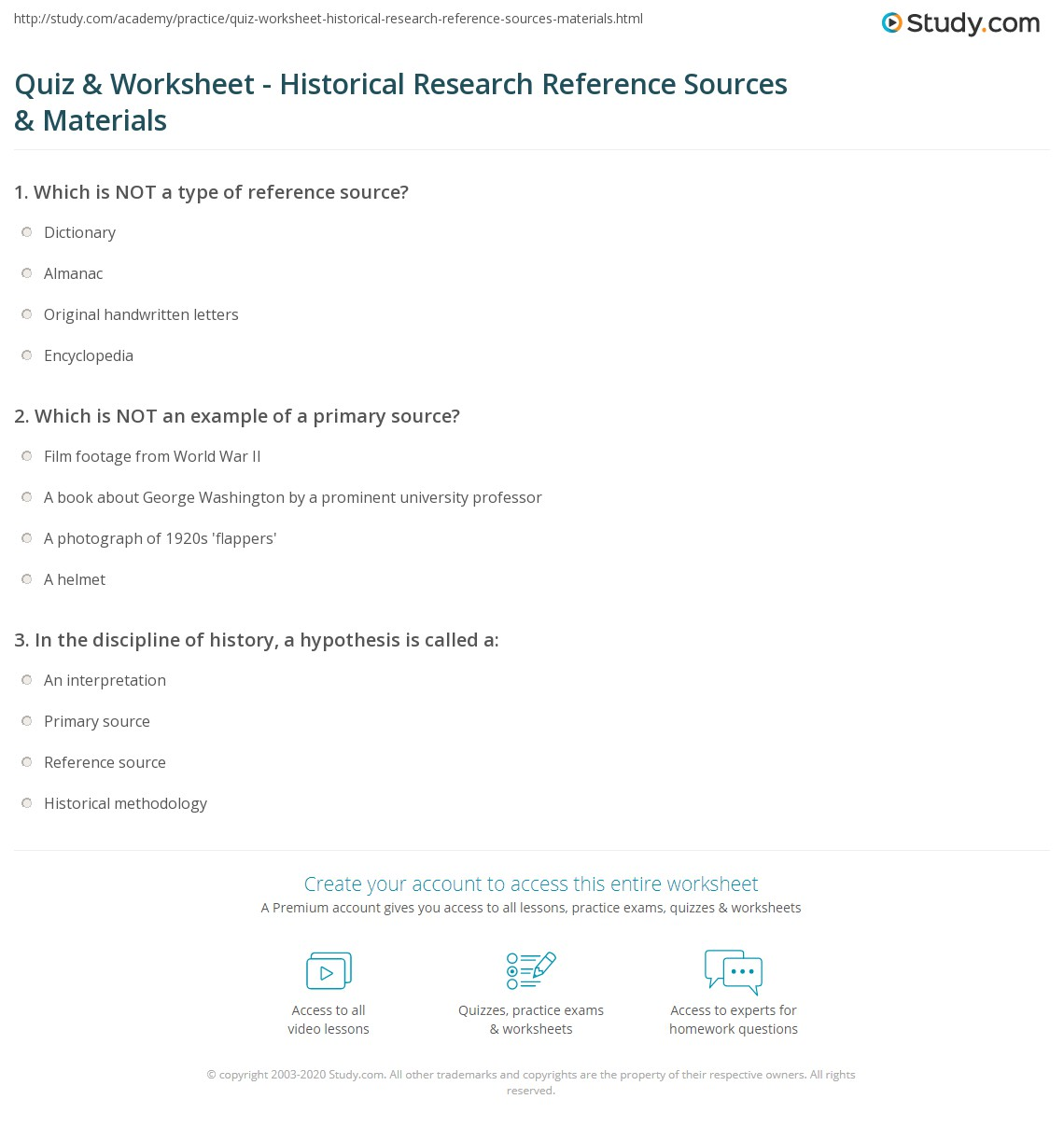 quiz worksheet historical research reference sources materials. Black Bedroom Furniture Sets. Home Design Ideas