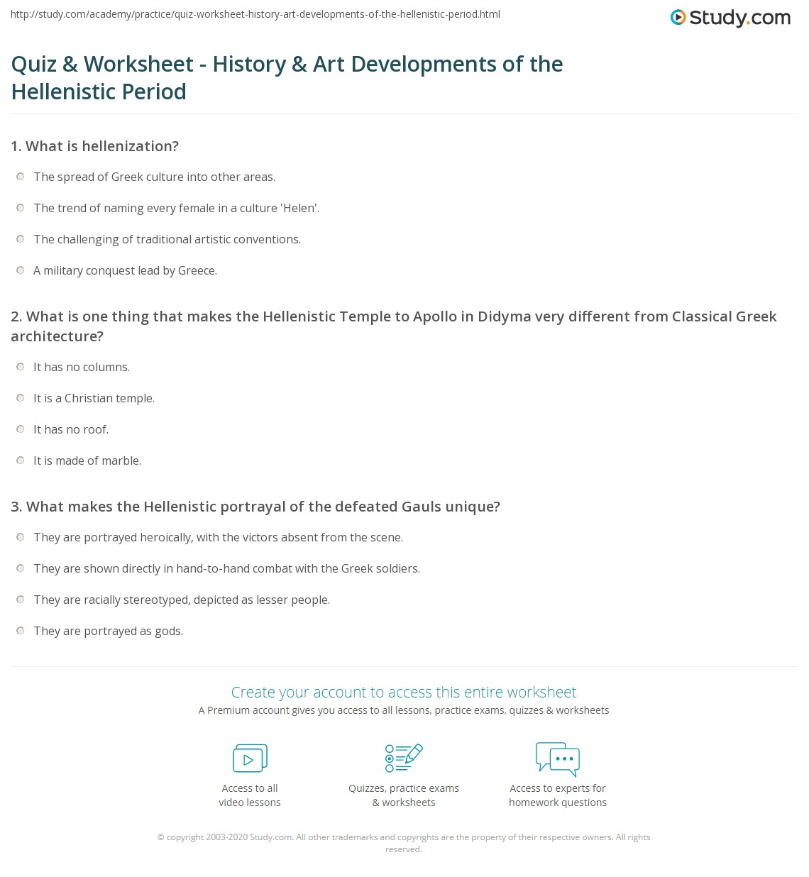 quiz worksheet history art developments of the hellenistic period. Black Bedroom Furniture Sets. Home Design Ideas