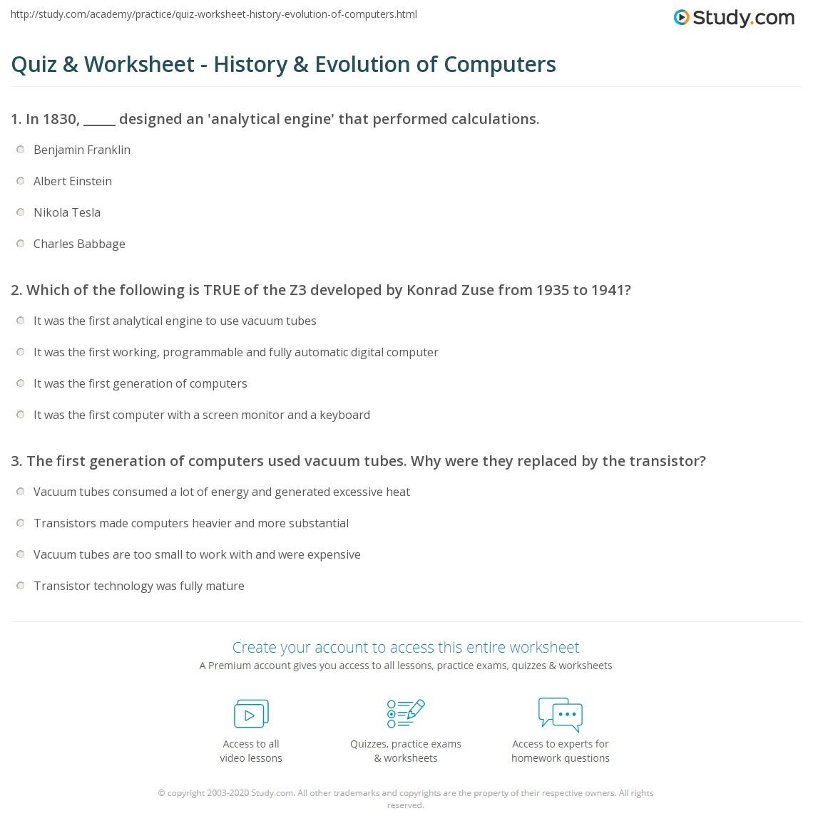 worksheet Computer Worksheet quiz worksheet history evolution of computers study com print timeline worksheet