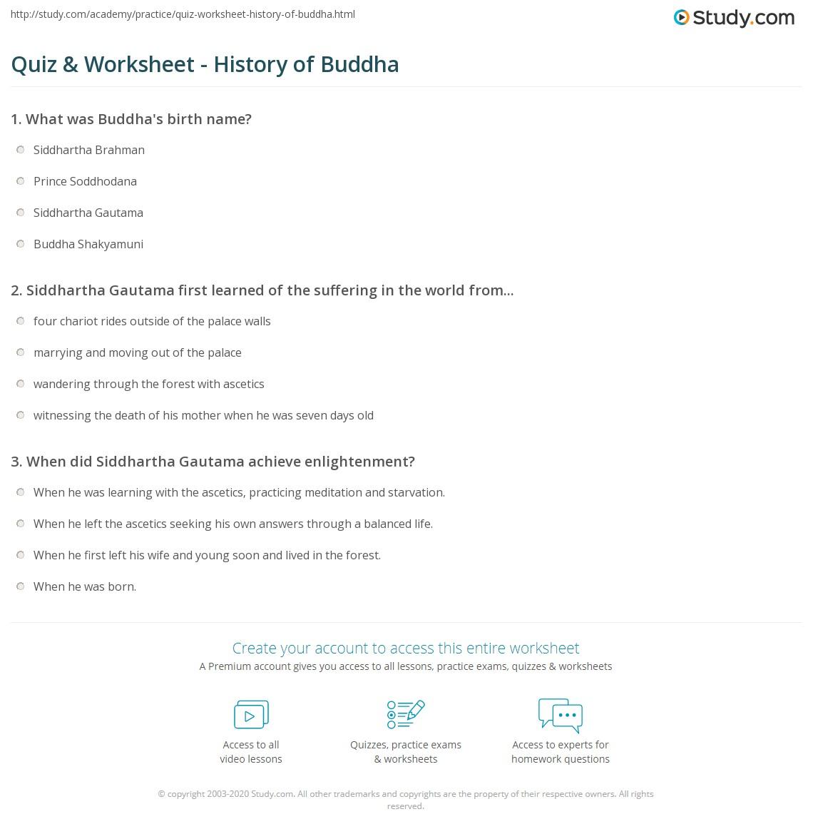 Quiz Worksheet History of Buddha – Enlightenment Worksheet