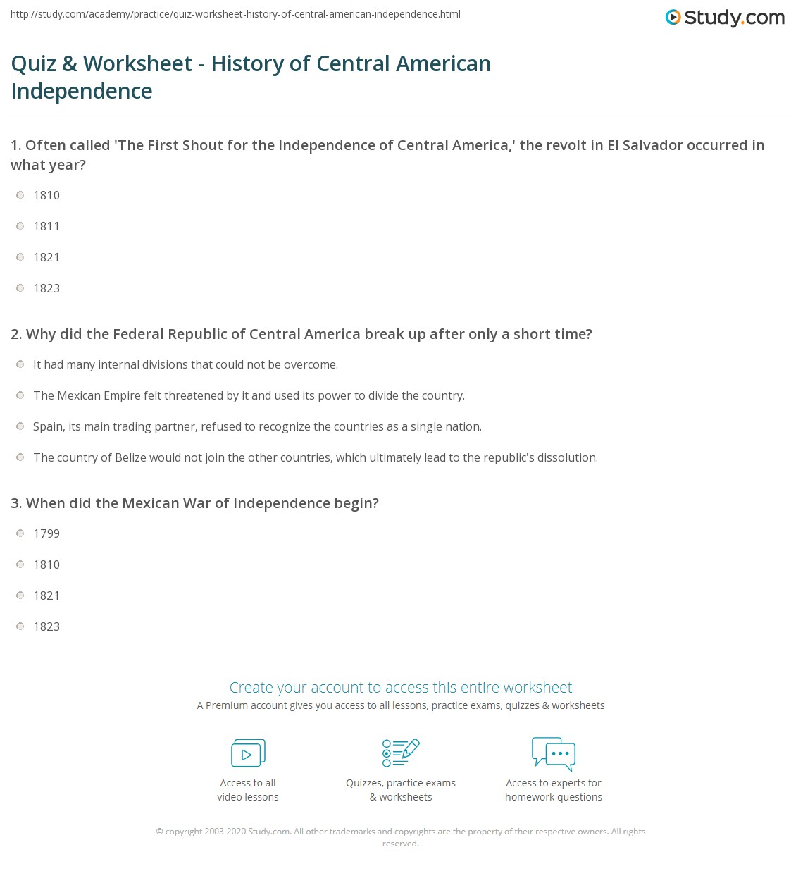 Quiz Worksheet History of Central American Independence – American History Worksheets