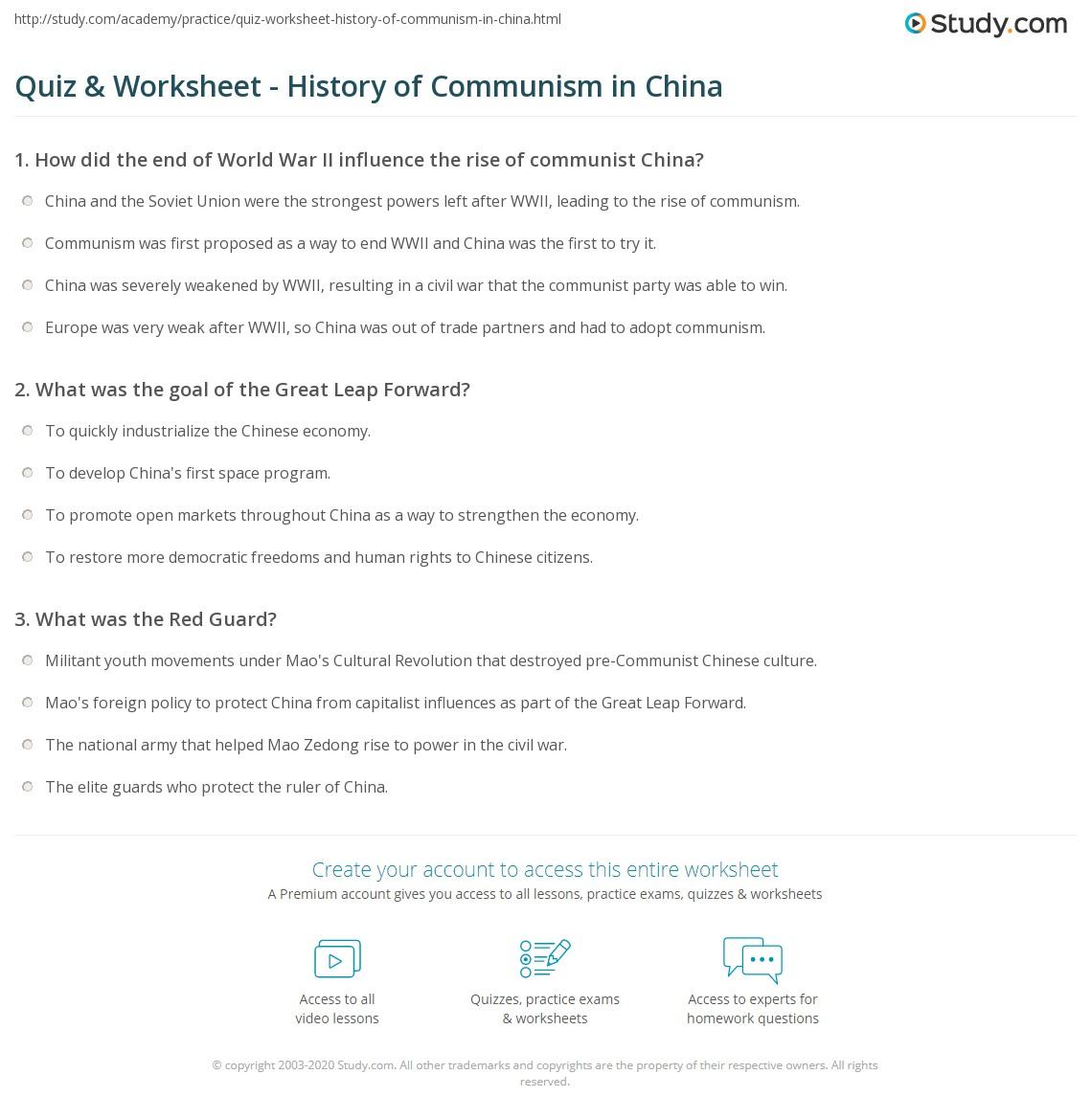 quiz worksheet history of communism in china. Black Bedroom Furniture Sets. Home Design Ideas