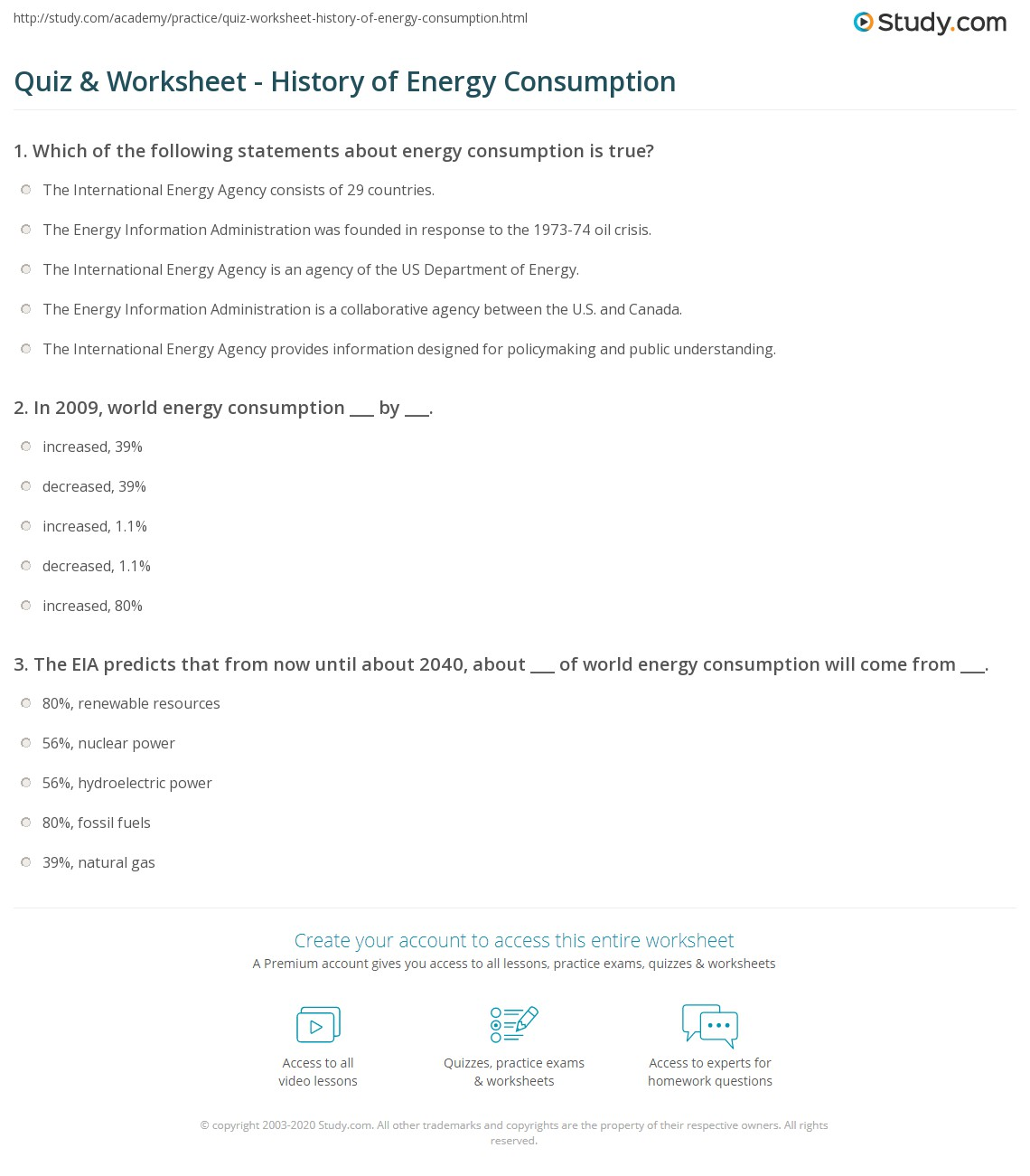 Quiz & Worksheet - History of Energy Consumption | Study.com