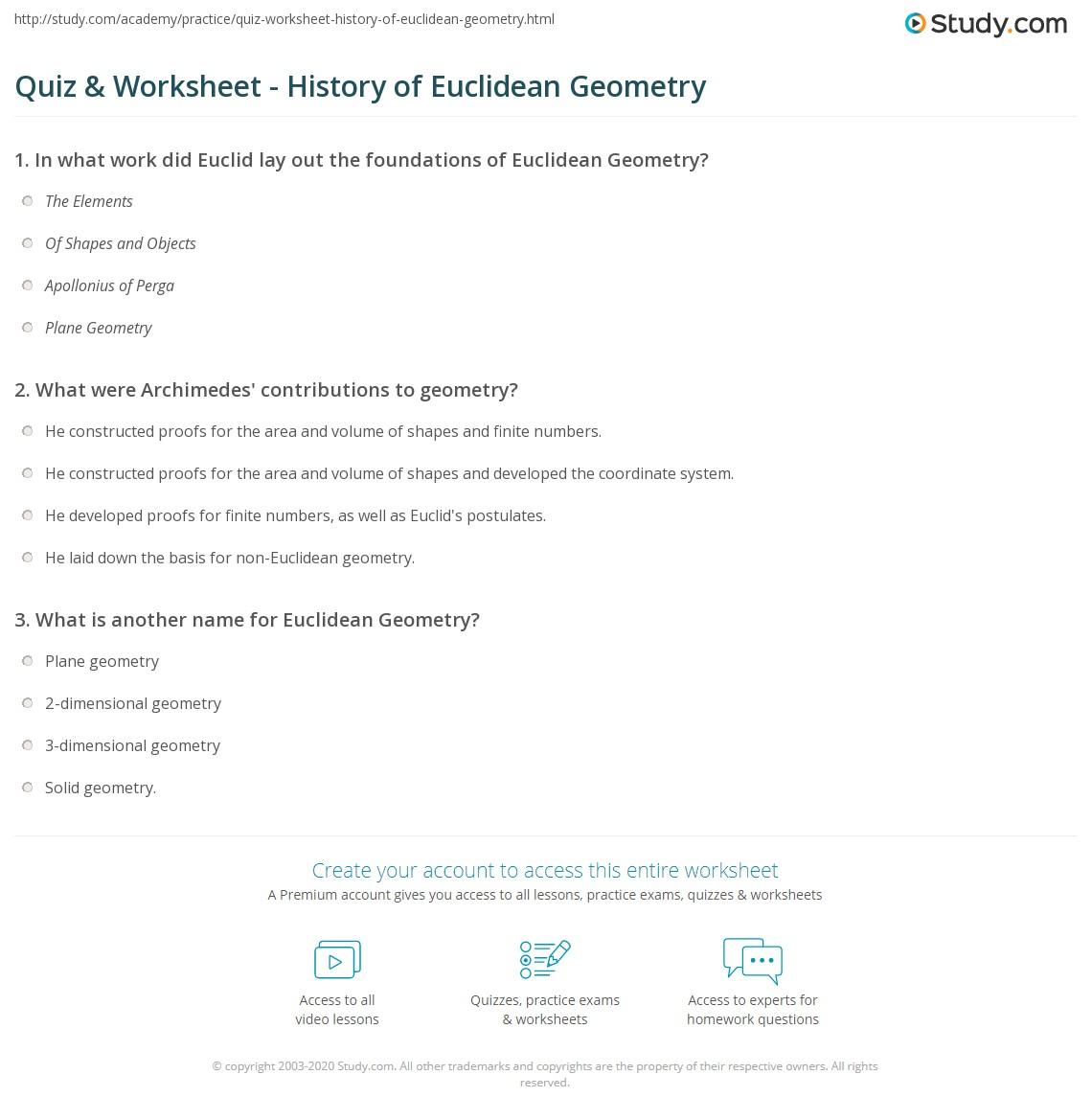 Quiz \u0026 Worksheet History Of Euclidean Geometry Study Com Euclid's Five Postulates Print Euclidean Geometry Definition, History \u0026 Examples Worksheet