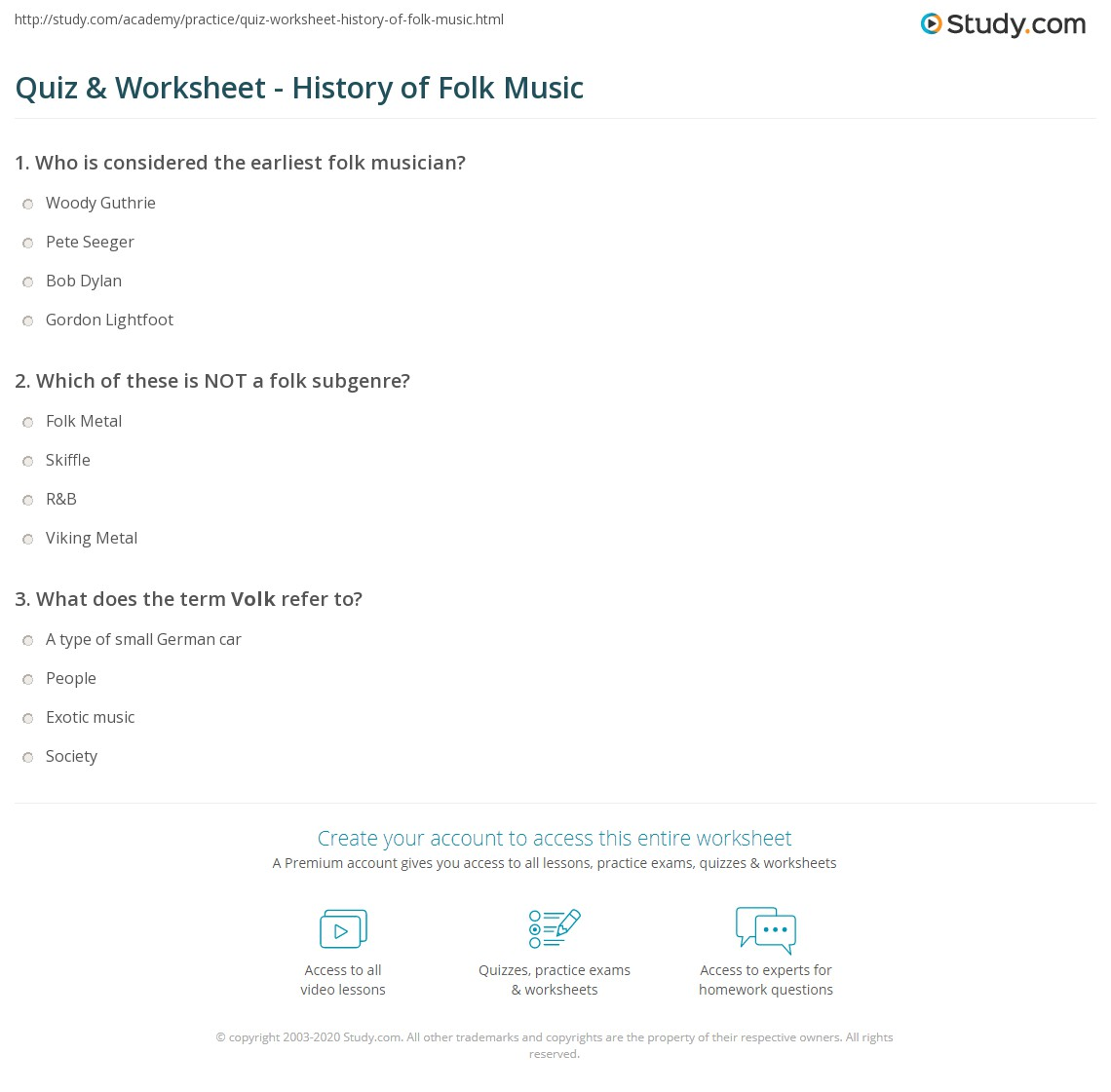 Quiz & Worksheet - History of Folk Music | Study.com