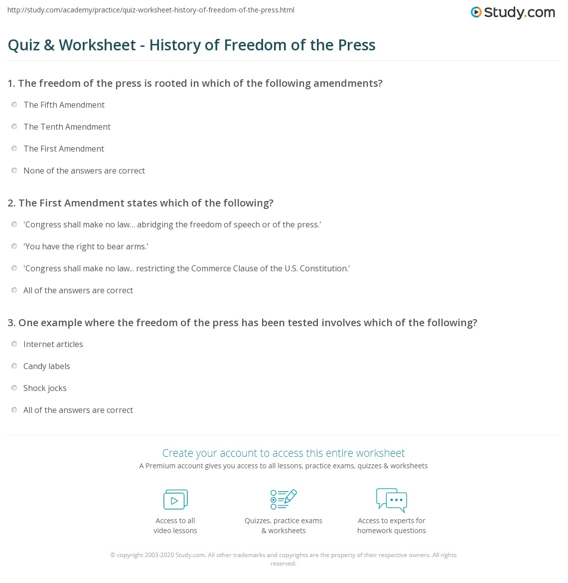 quiz worksheet history of freedom of the press. Black Bedroom Furniture Sets. Home Design Ideas