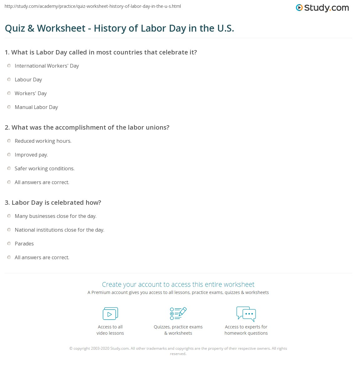 Worksheets Labor Day Worksheets quiz worksheet history of labor day in the u s study com print united states meaning worksheet