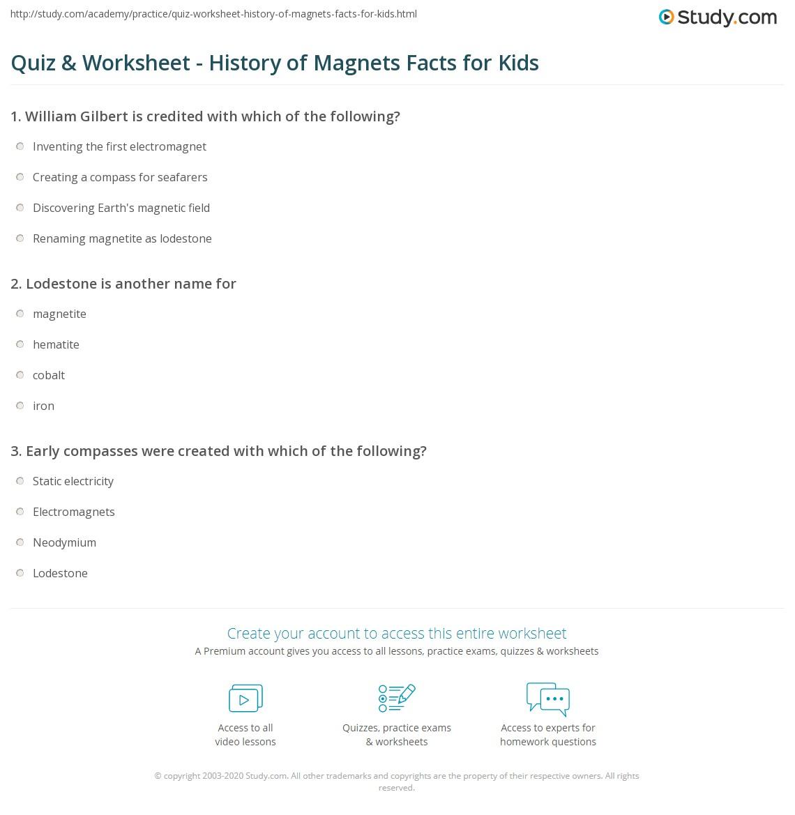 Quiz Worksheet History of Magnets Facts for Kids – Magnets Worksheets