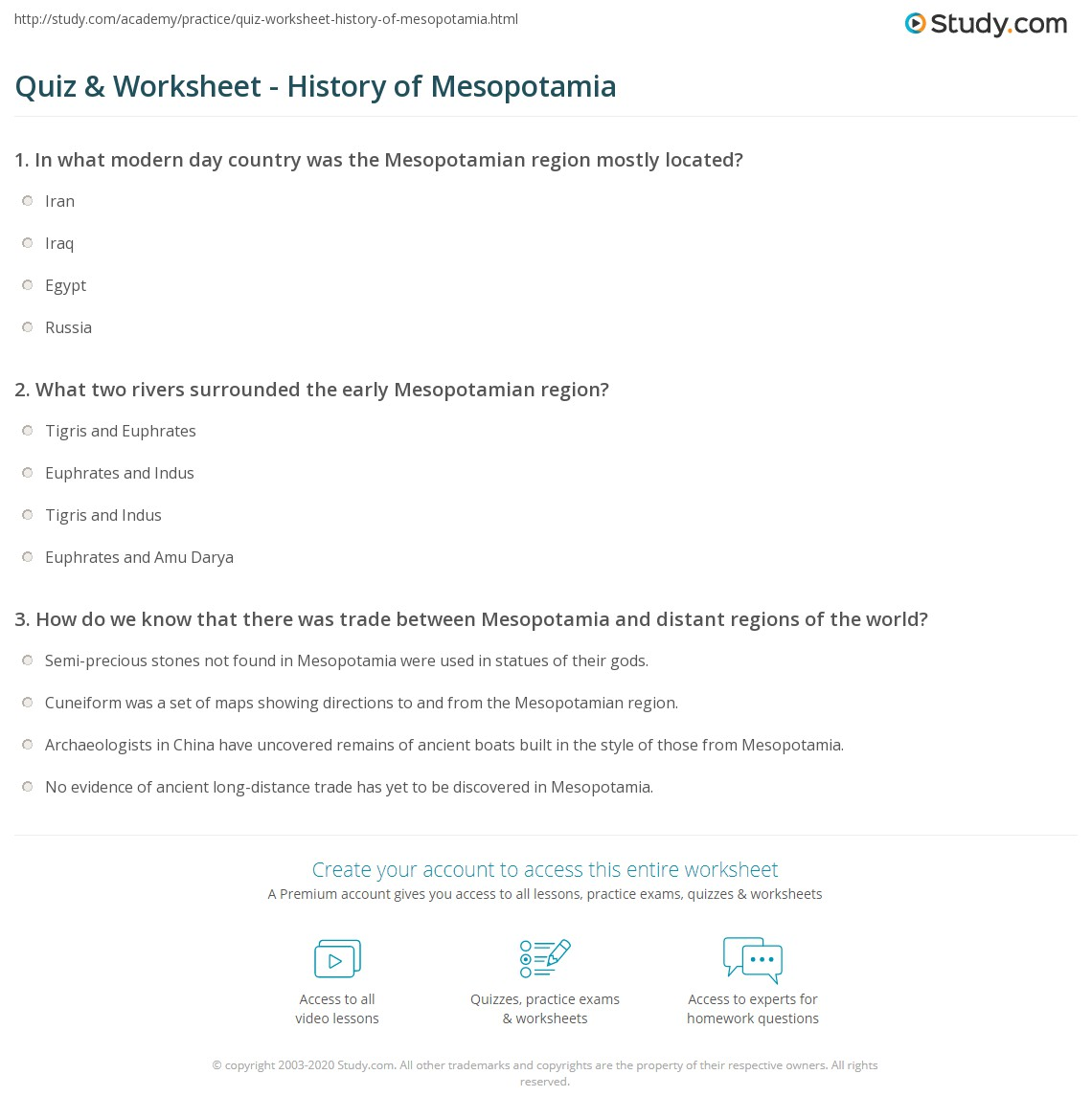 Quiz Worksheet History of Mesopotamia – Mesopotamia Map Worksheet