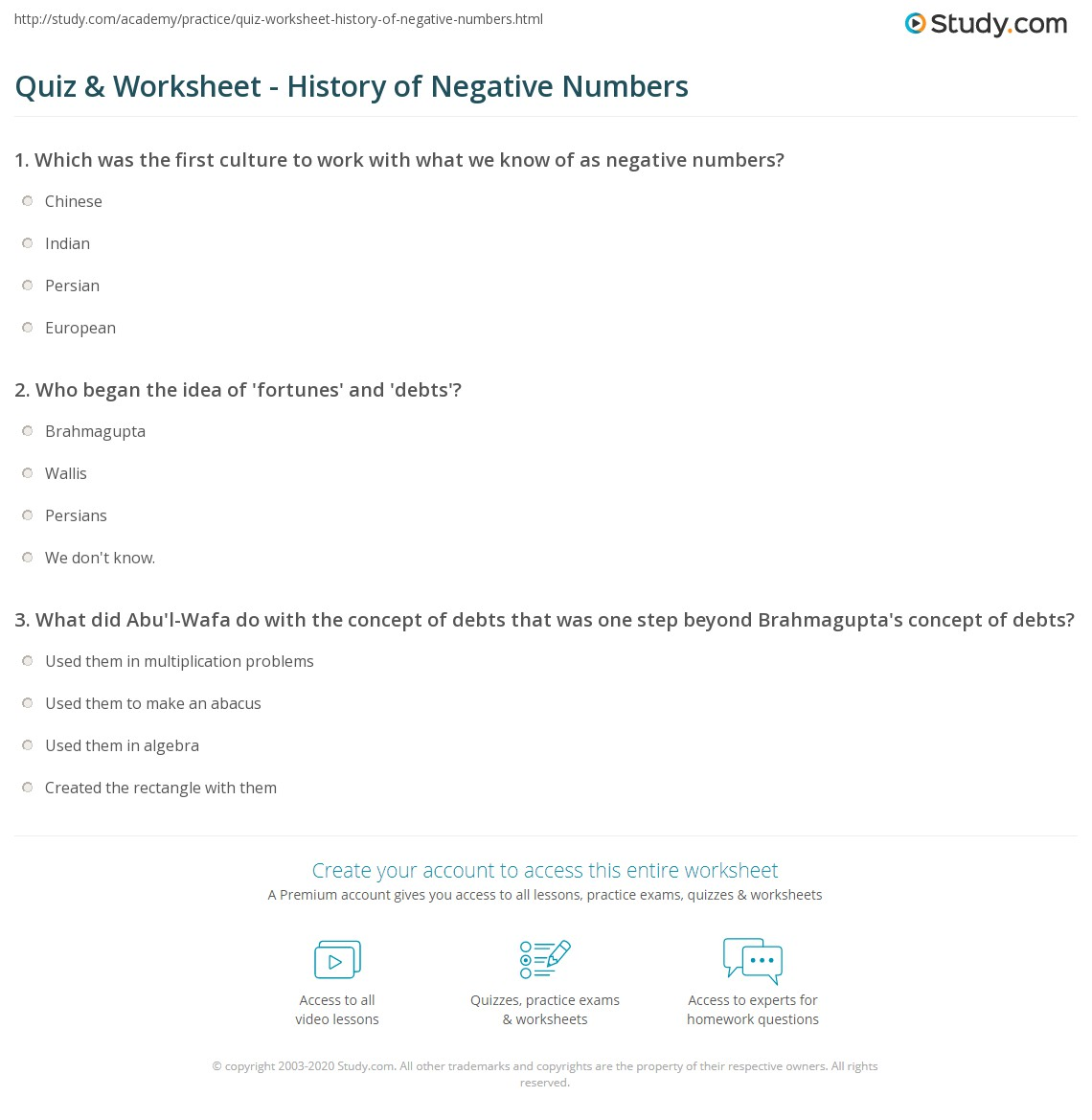 Quiz Worksheet History Of Negative Numbers Study
