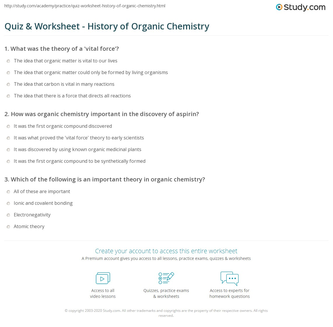 Worksheets Organic Nomenclature Worksheet quiz worksheet history of organic chemistry study com print the worksheet
