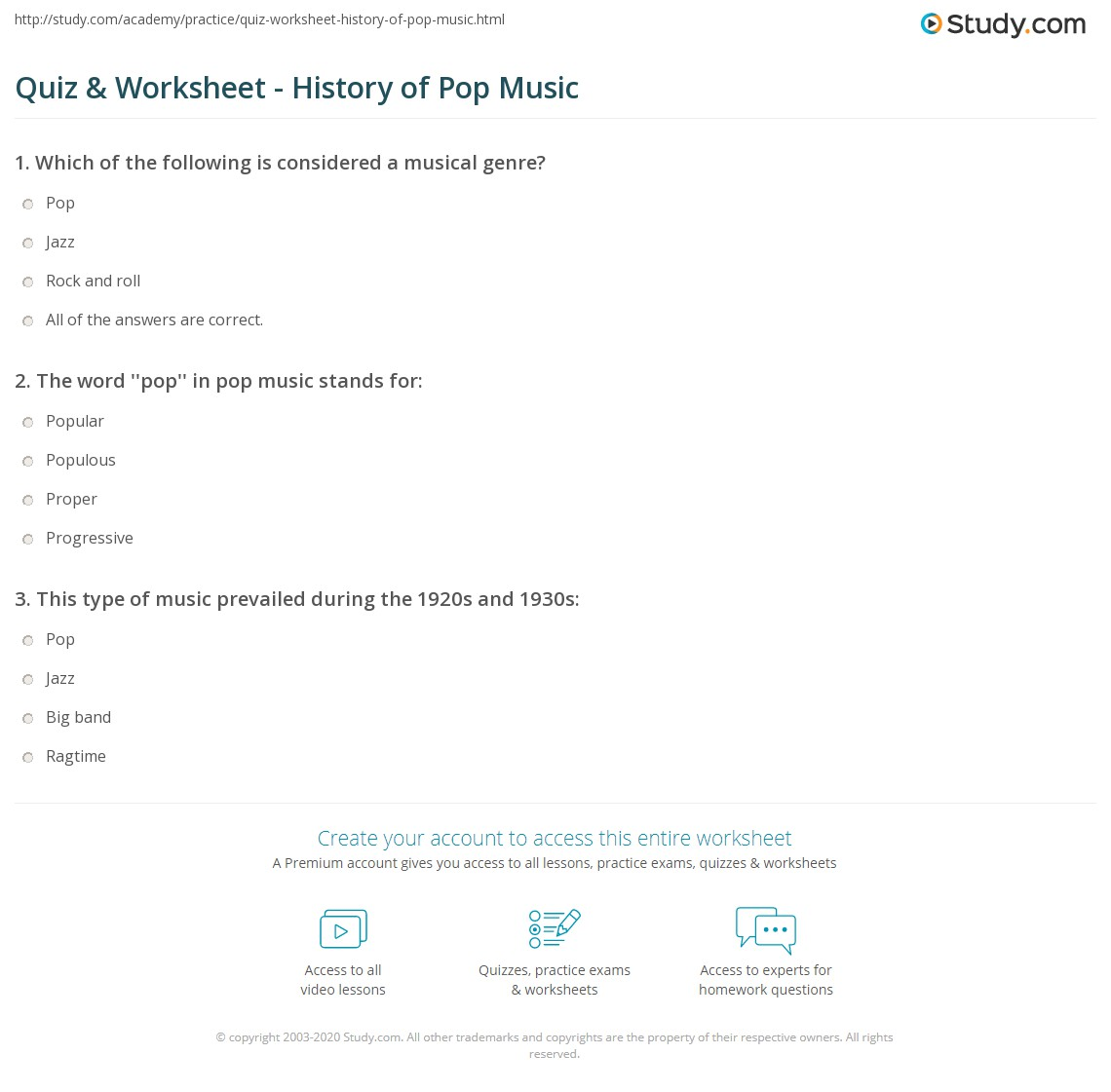 worksheet Beginning Band Worksheets quiz worksheet history of pop music study com print facts timeline worksheet
