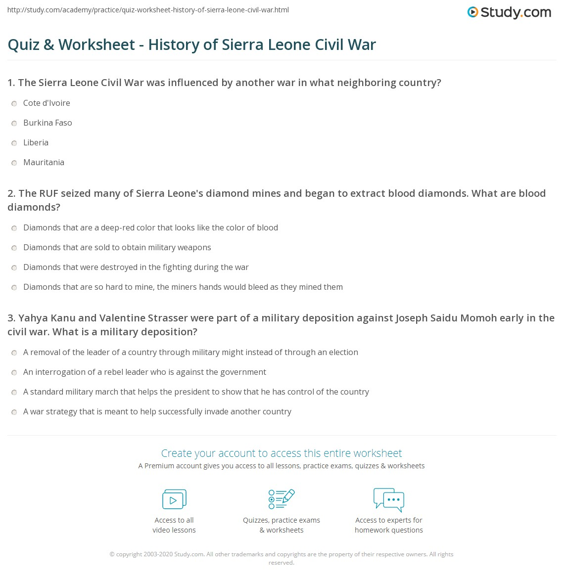 Worksheets Civil War Timeline Worksheet quiz worksheet history of sierra leone civil war study com print summary facts timeline worksheet
