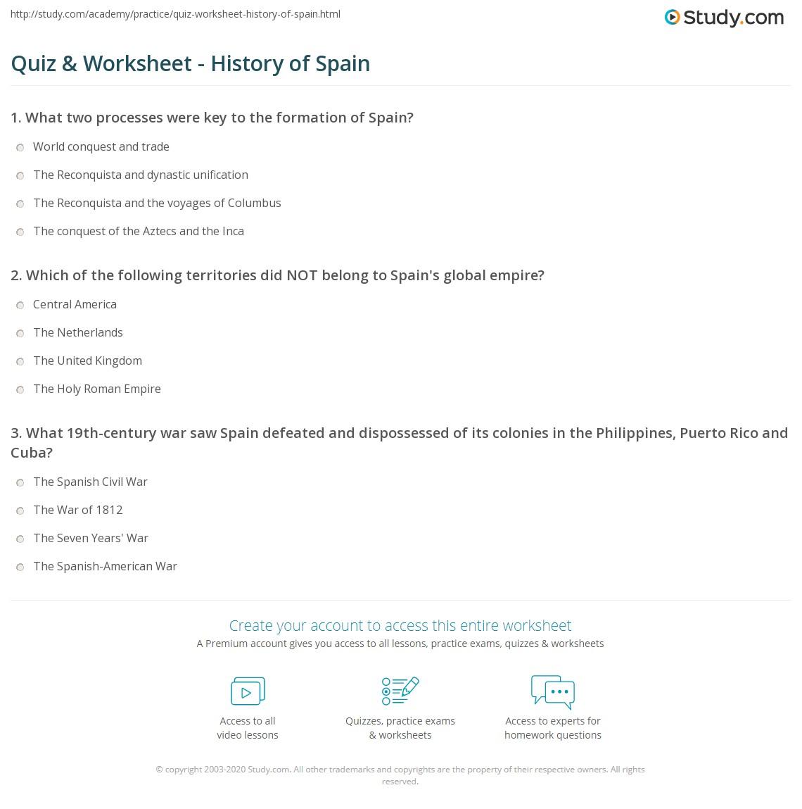 Quiz worksheet history of spain study print brief history of spain worksheet aiddatafo Choice Image