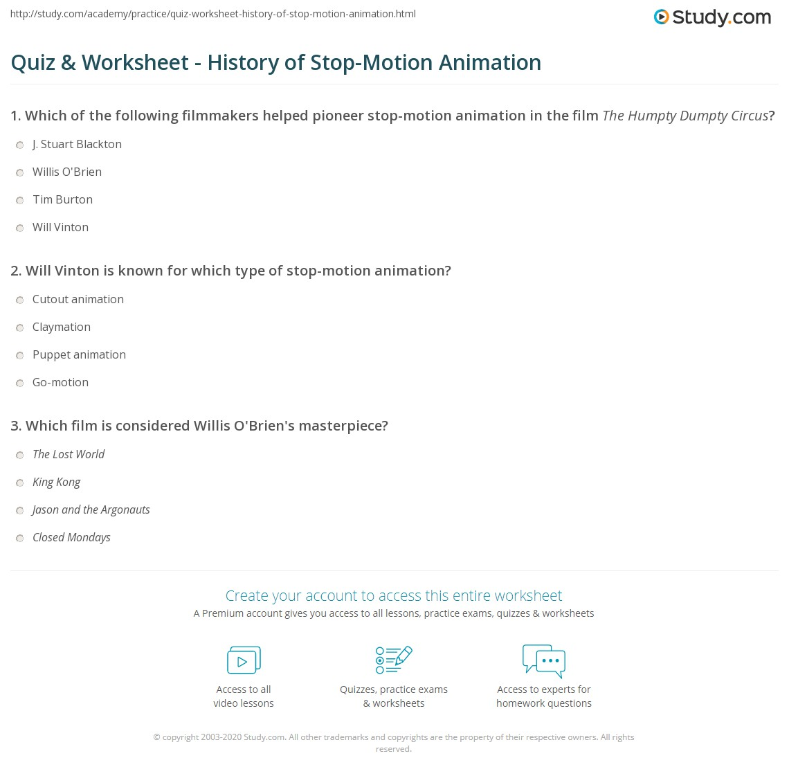 Quiz & Worksheet - History of Stop-Motion Animation  Study.com worksheets for teachers, free worksheets, multiplication, and printable worksheets Humpty Dumpty Worksheet 1446 x 1140