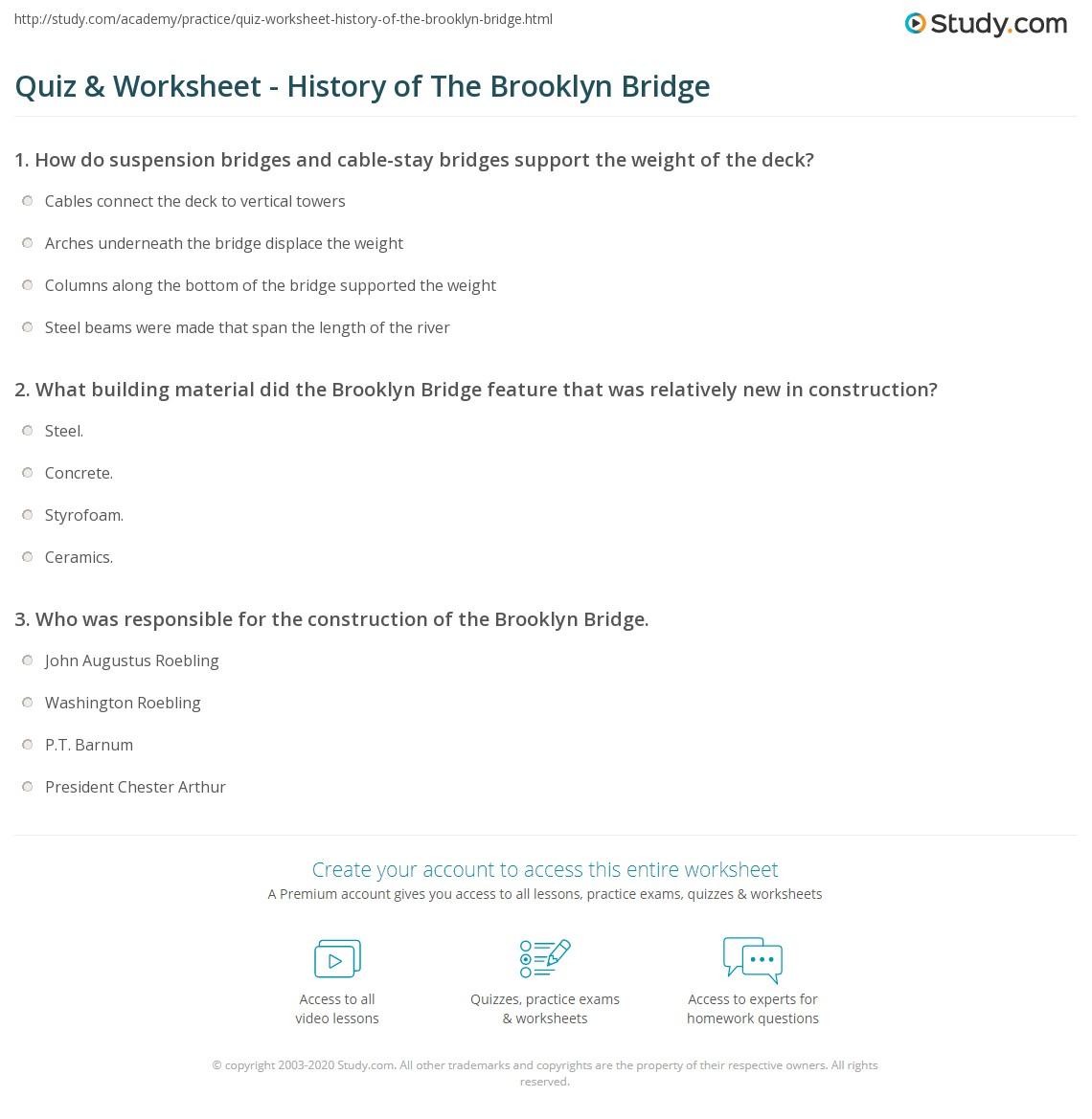 Quiz & Worksheet History of The Brooklyn Bridge