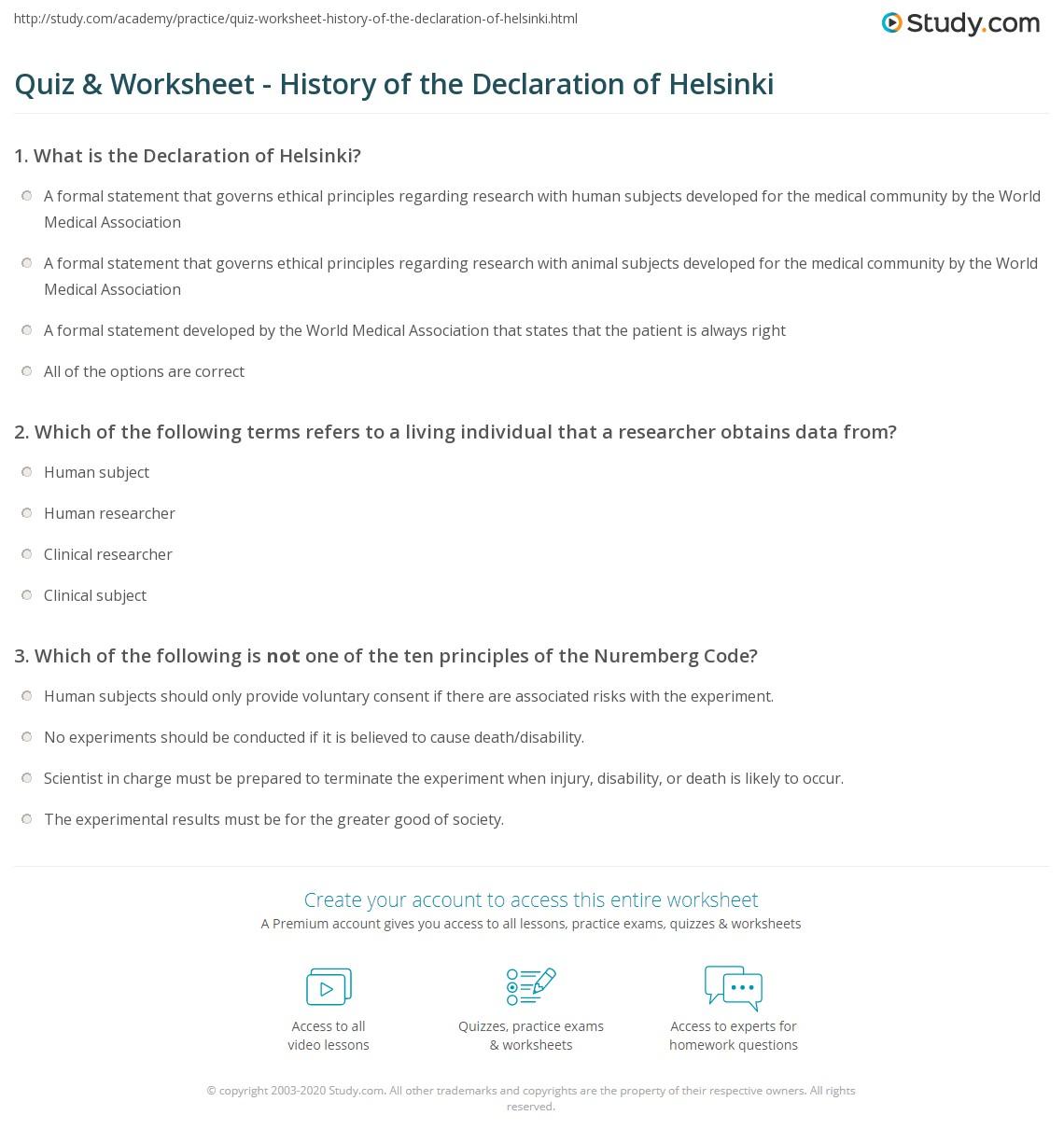 quiz worksheet history of the declaration of helsinki. Black Bedroom Furniture Sets. Home Design Ideas