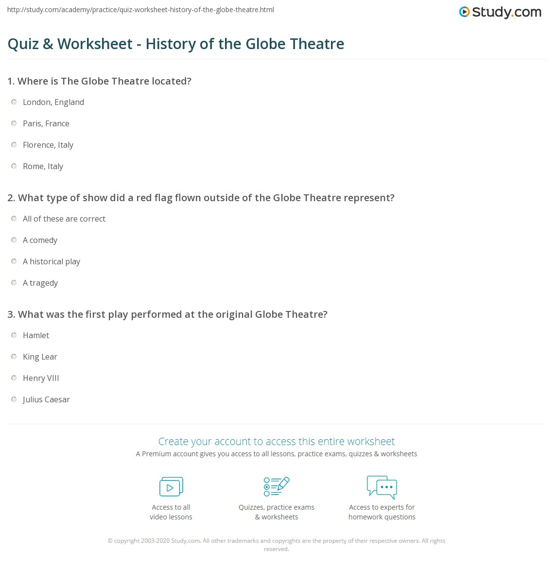 worksheet Globe Theater Worksheet quiz worksheet history of the globe theatre study com print shakespeares facts worksheet