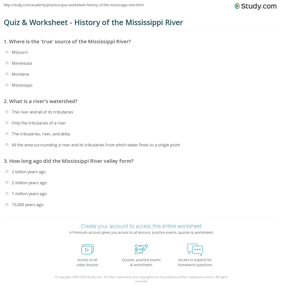 quiz worksheet history of the mississippi river. Black Bedroom Furniture Sets. Home Design Ideas