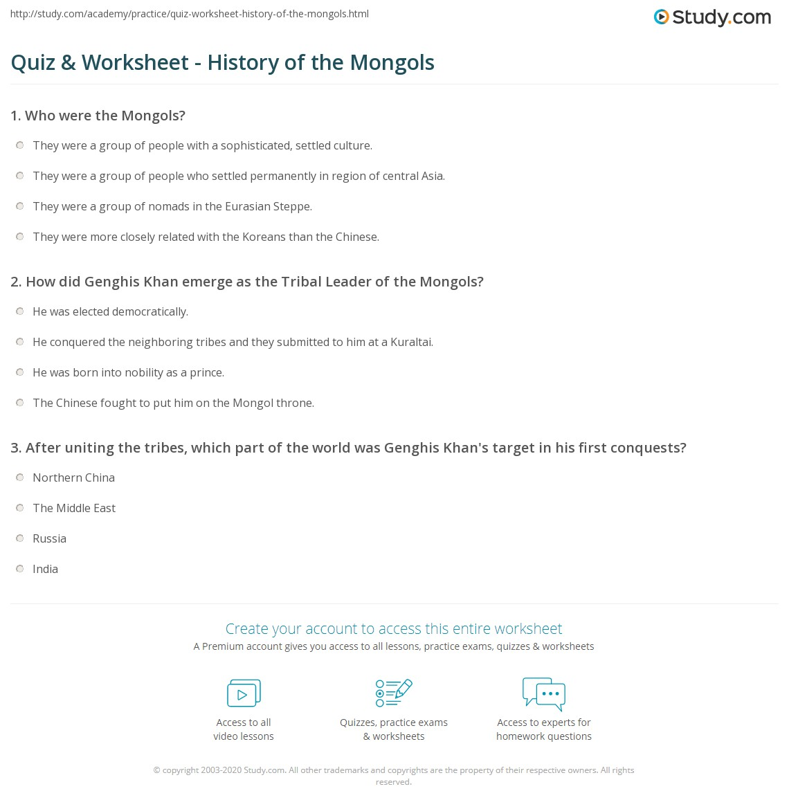quiz worksheet history of the mongols study com rh study com Clip Art Answer Key Insurance Handbook Answer Key