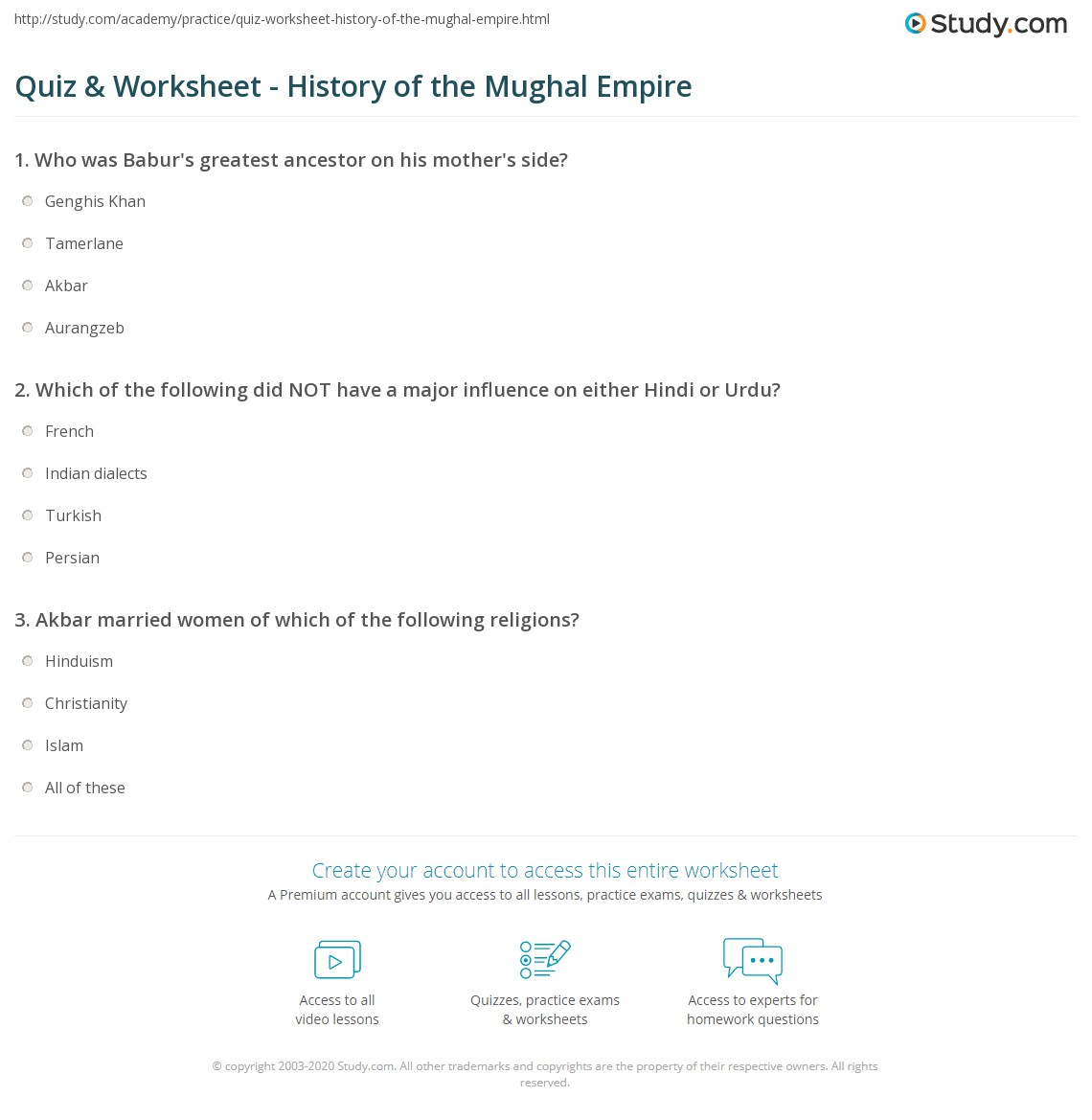 quiz worksheet history of the mughal empire study com rh study com Safavid Empire Mughal Empire People