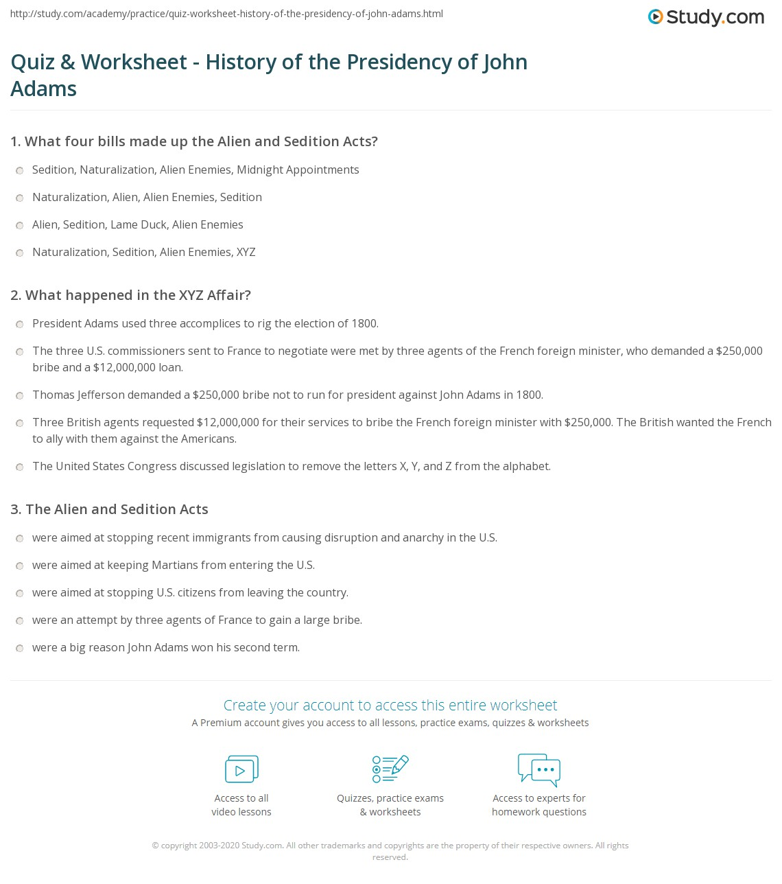 Print President John Adams: From Alien and Sedition Acts to XYZ Affair  Worksheet