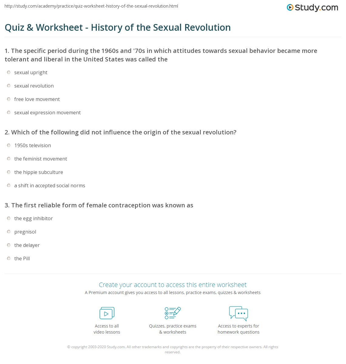 Quiz & Worksheet - History of the Sexual Revolution | Study com