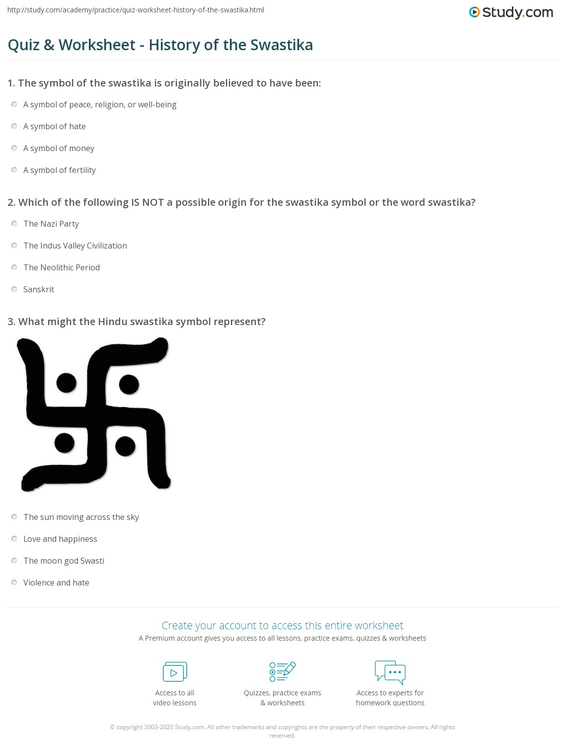 Quiz Worksheet History Of The Swastika Study
