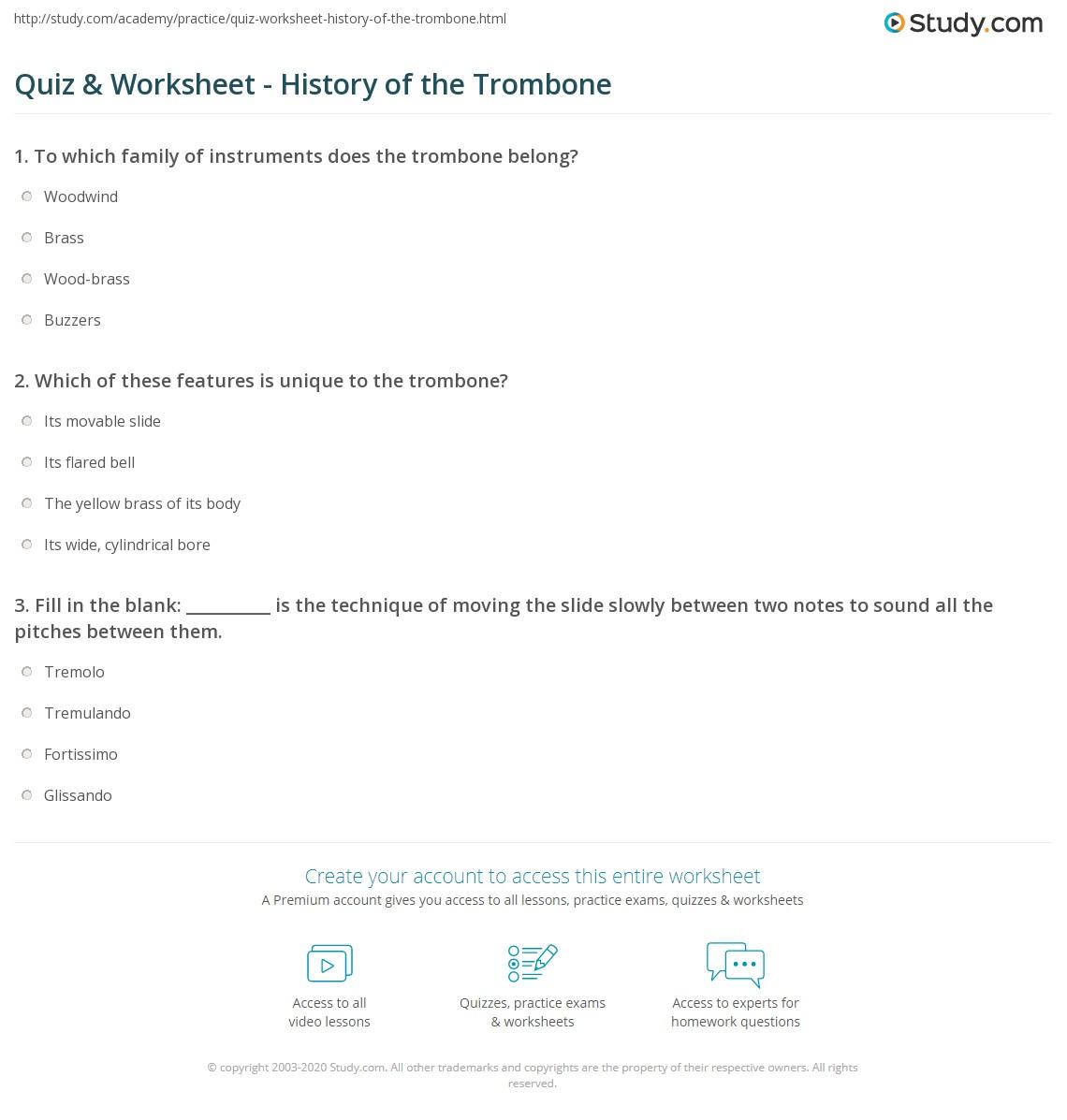 Quiz & Worksheet - History of the Trombone | Study com