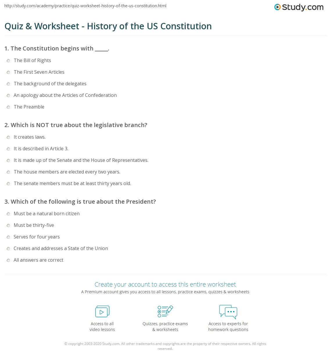 Worksheets Us Constitution Worksheets quiz worksheet history of the us constitution study com print united states summary analysis worksheet