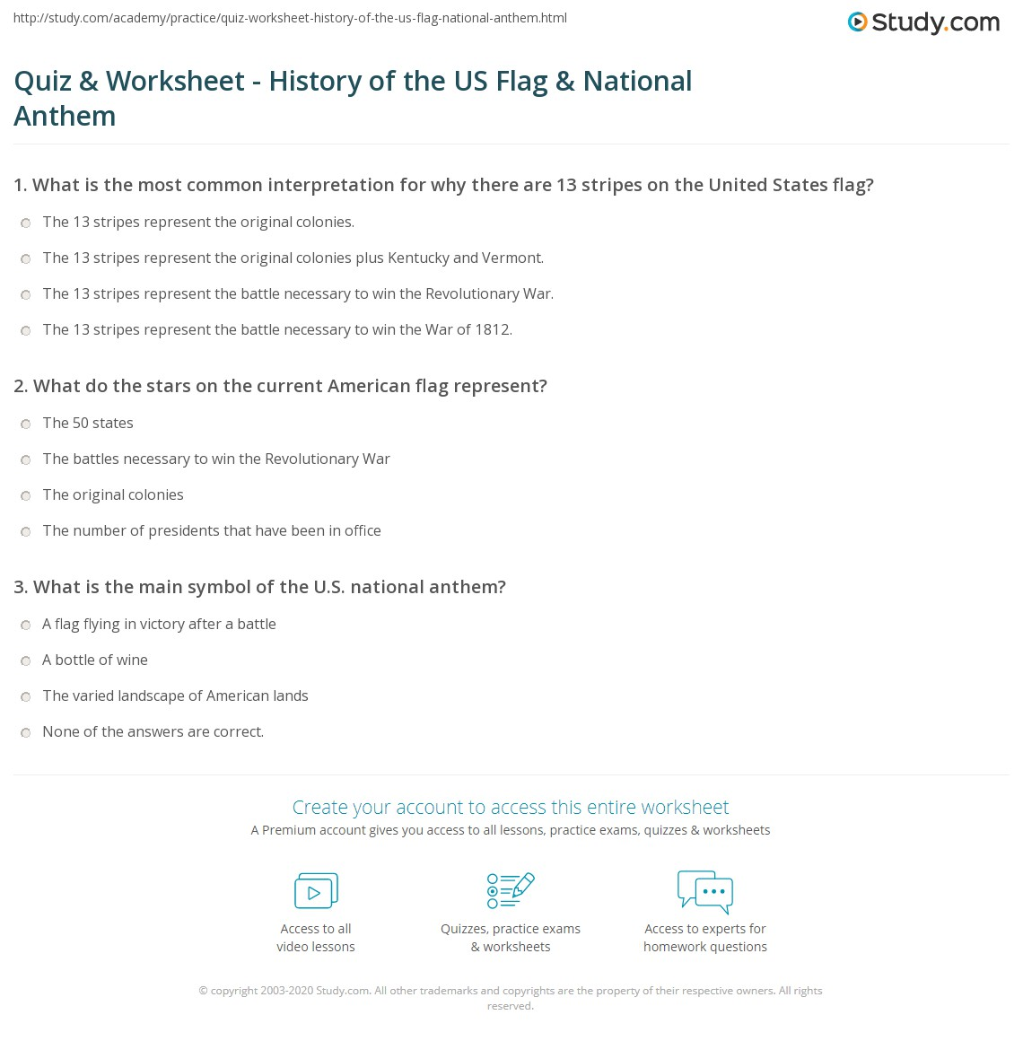Worksheets American Symbols Worksheet quiz worksheet history of the us flag national anthem study com print american worksheet