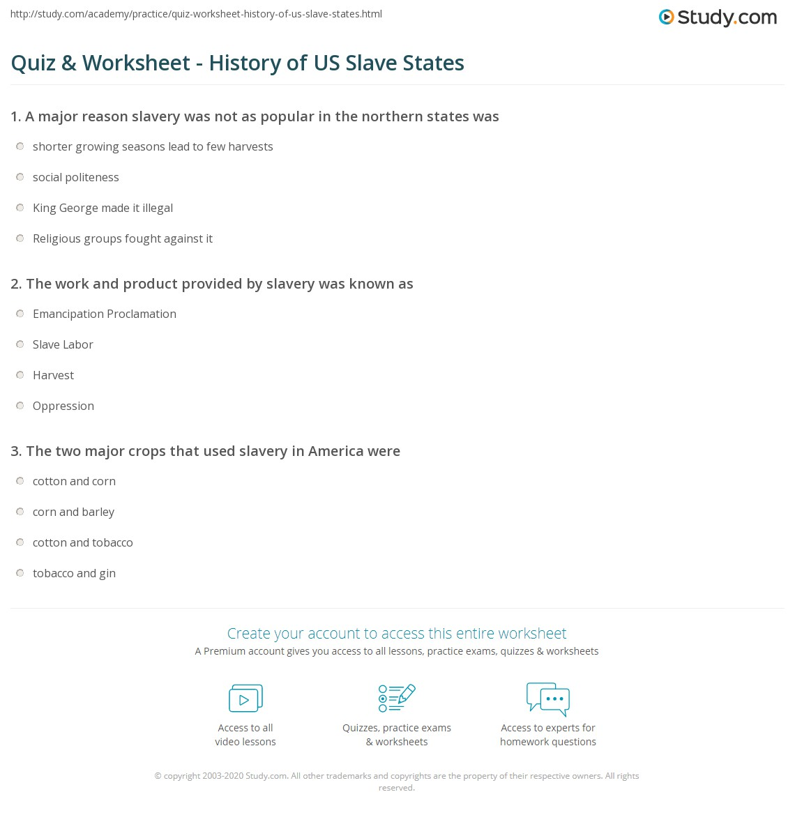 Quiz Worksheet History of US Slave States Studycom