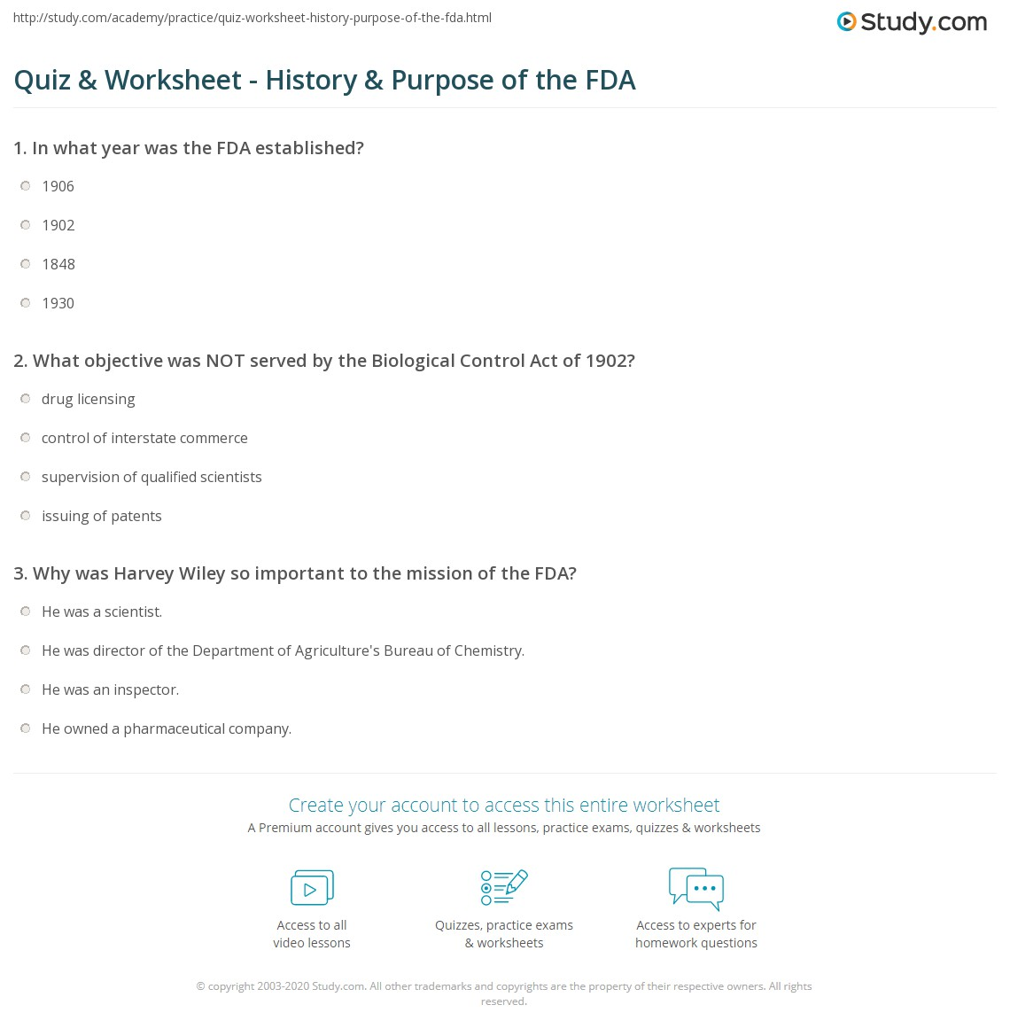 Quiz & Worksheet - History & Purpose of the FDA   Study com
