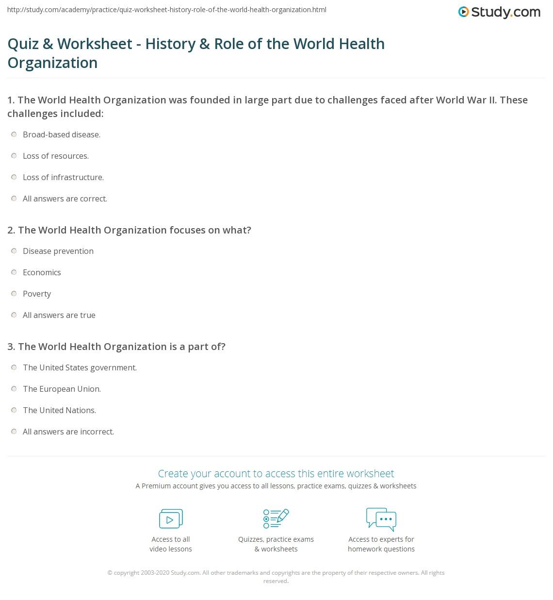 quiz & worksheet - history & role of the world health organization