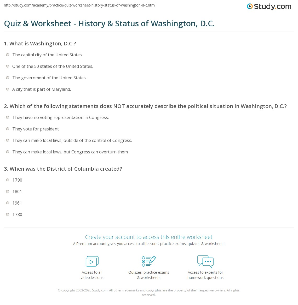 worksheet Child Support Worksheet Washington quiz worksheet history status of washington d c study com print worksheet