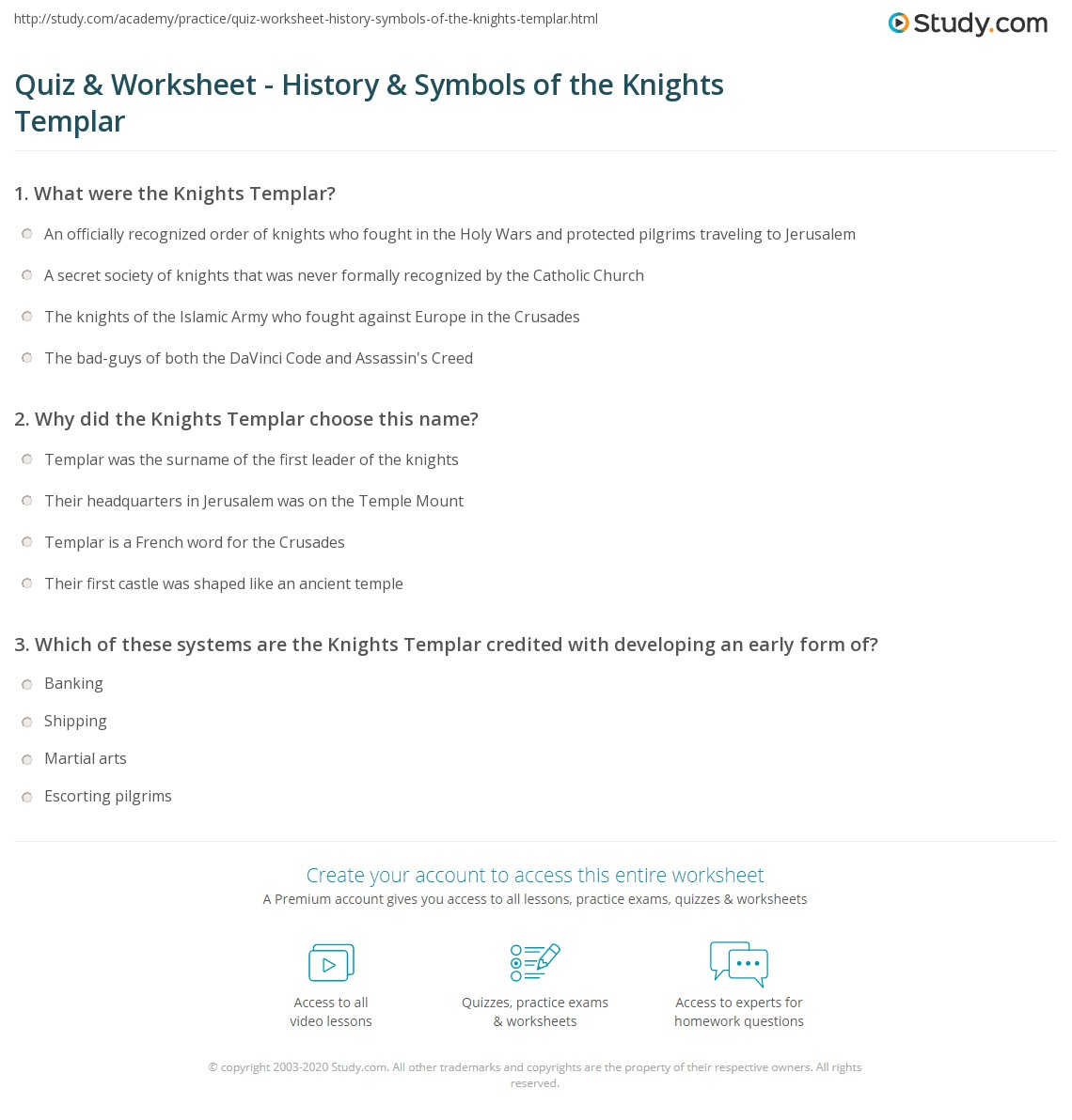 quiz worksheet history symbols of the knights templar. Black Bedroom Furniture Sets. Home Design Ideas